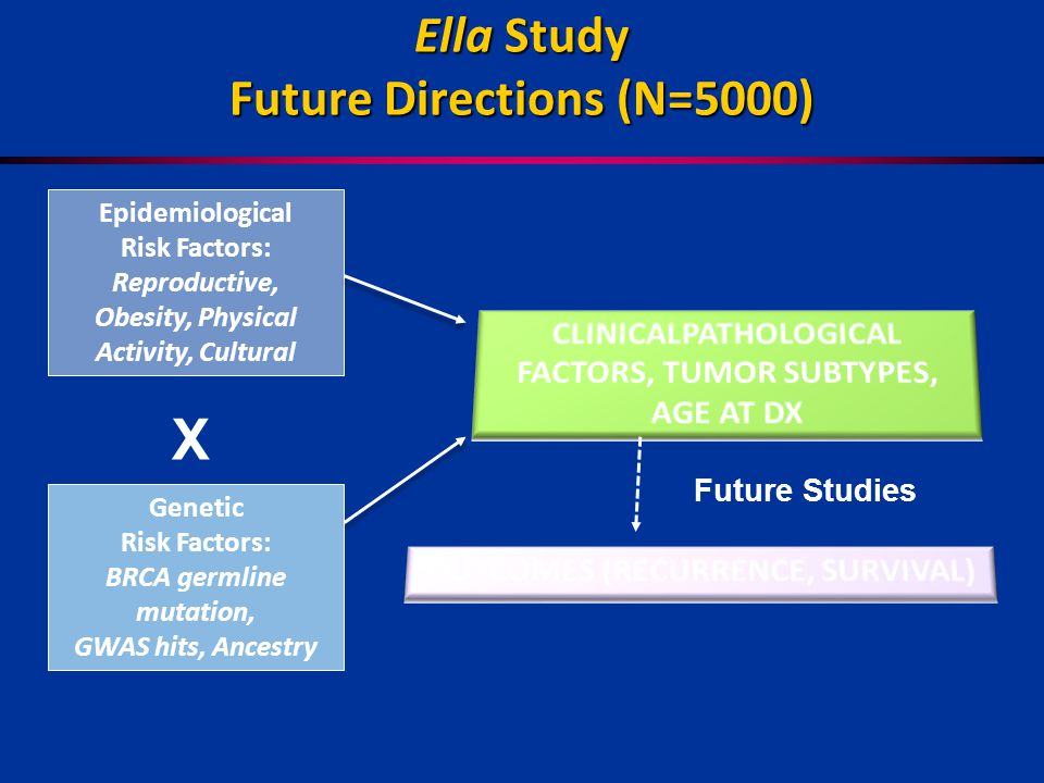 Ella Study Future Directions (N=5000) Epidemiological Risk Factors: Reproductive, Obesity, Physical Activity, Cultural Future Studies Genetic Risk Factors: BRCA germline mutation, GWAS hits, Ancestry X