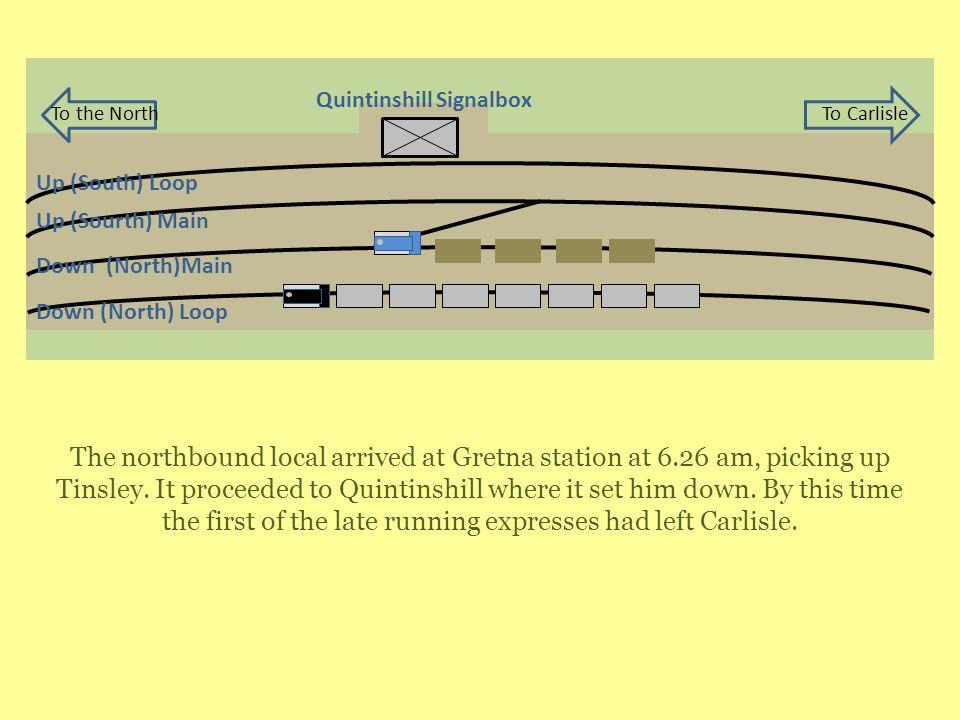 Up (Sourth) Main Down (North)Main Up (South) Loop Down (North) Loop Quintinshill Signalbox To the NorthTo Carlisle The northbound local arrived at Gretna station at 6.26 am, picking up Tinsley.