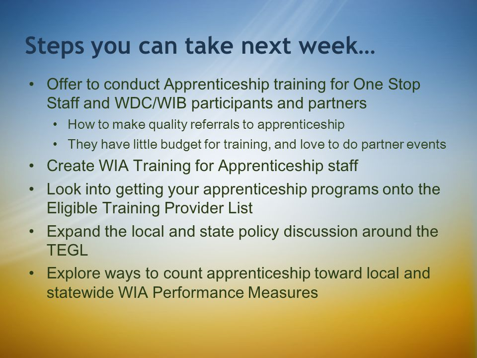 Offer to conduct Apprenticeship training for One Stop Staff and WDC/WIB participants and partners How to make quality referrals to apprenticeship They have little budget for training, and love to do partner events Create WIA Training for Apprenticeship staff Look into getting your apprenticeship programs onto the Eligible Training Provider List Expand the local and state policy discussion around the TEGL Explore ways to count apprenticeship toward local and statewide WIA Performance Measures Steps you can take next week…