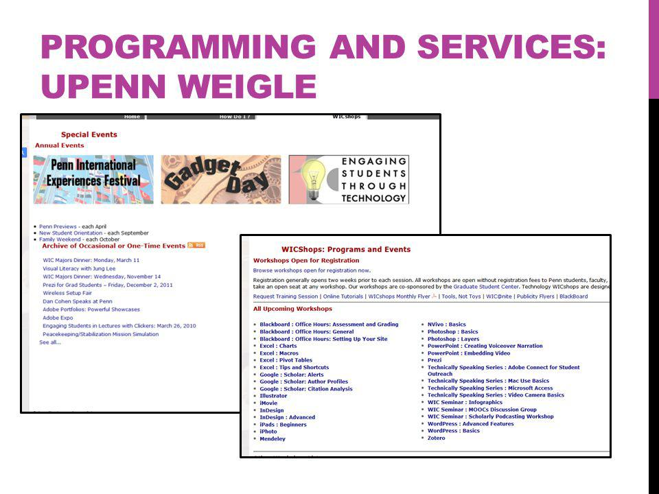 PROGRAMMING AND SERVICES: UPENN WEIGLE