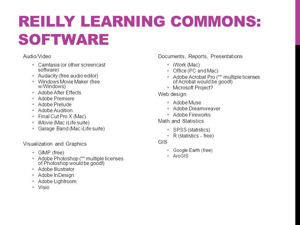 REILLY LEARNING COMMONS: SOFTWARE Audio/Video Camtasia (or other screencast software) Audacity (free audio editor) Windows Movie Maker (free w/Windows