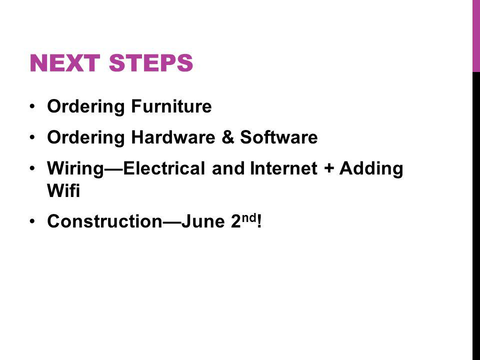 NEXT STEPS Ordering Furniture Ordering Hardware & Software WiringElectrical and Internet + Adding Wifi ConstructionJune 2 nd !