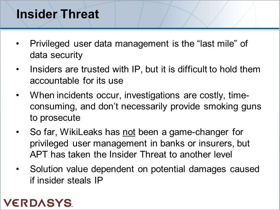 Insider Threat Privileged user data management is the last mile of data security Insiders are trusted with IP, but it is difficult to hold them accoun