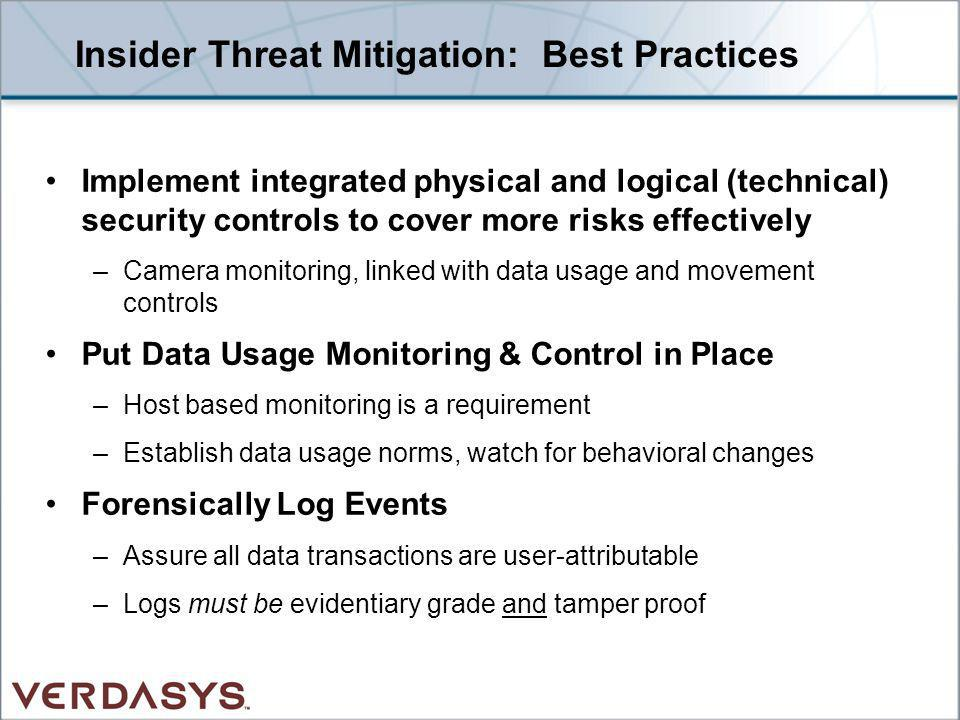Insider Threat Mitigation: Best Practices Implement integrated physical and logical (technical) security controls to cover more risks effectively –Cam
