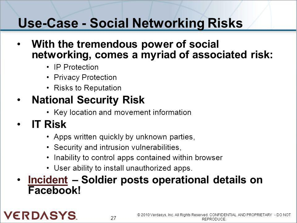 Use-Case - Social Networking Risks With the tremendous power of social networking, comes a myriad of associated risk: IP Protection Privacy Protection