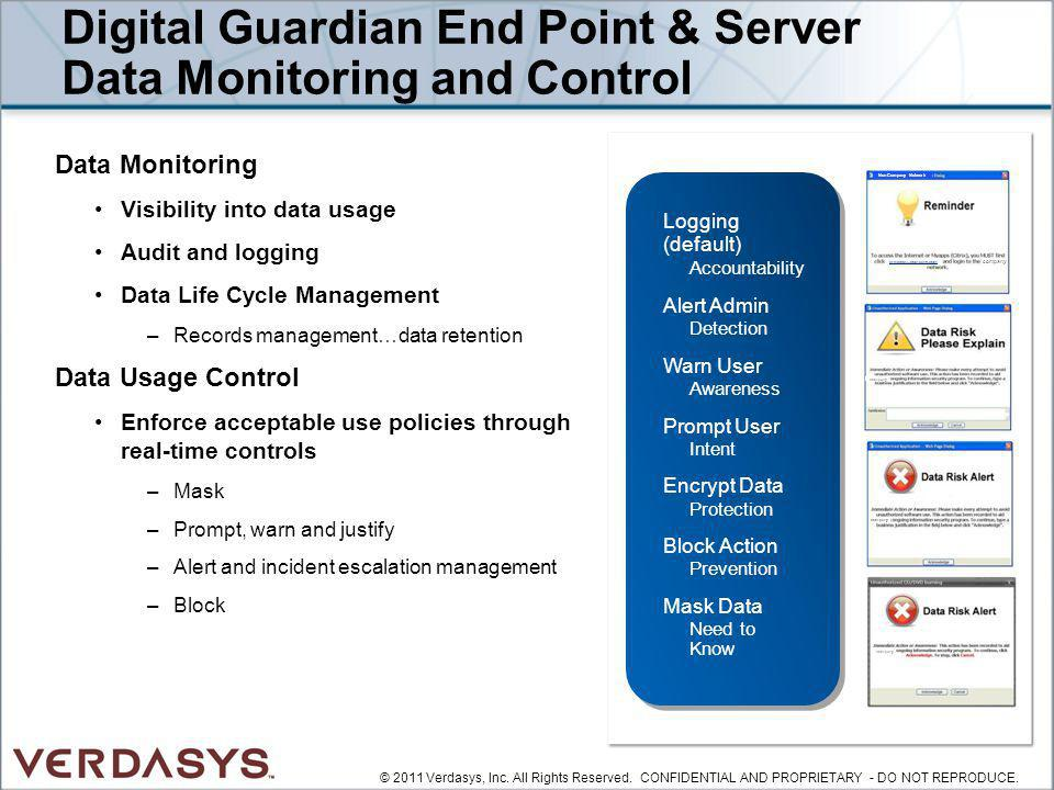 Digital Guardian End Point & Server Data Monitoring and Control Data Monitoring Visibility into data usage Audit and logging Data Life Cycle Managemen