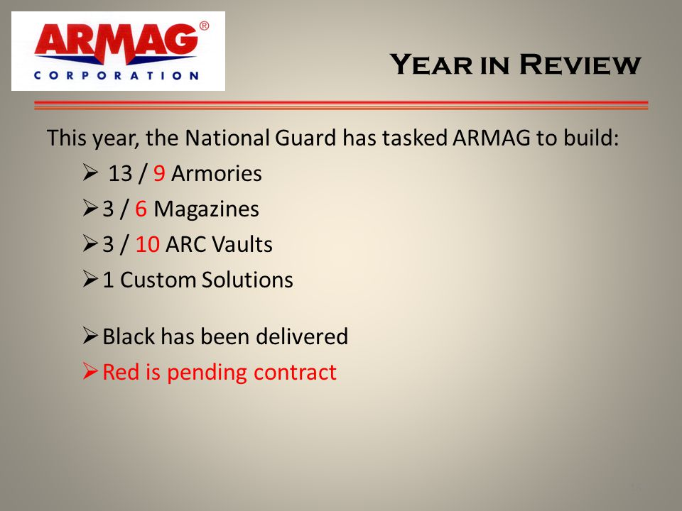 Year in Review 18 This year, the National Guard has tasked ARMAG to build: 13 / 9 Armories 3 / 6 Magazines 3 / 10 ARC Vaults 1 Custom Solutions Black has been delivered Red is pending contract