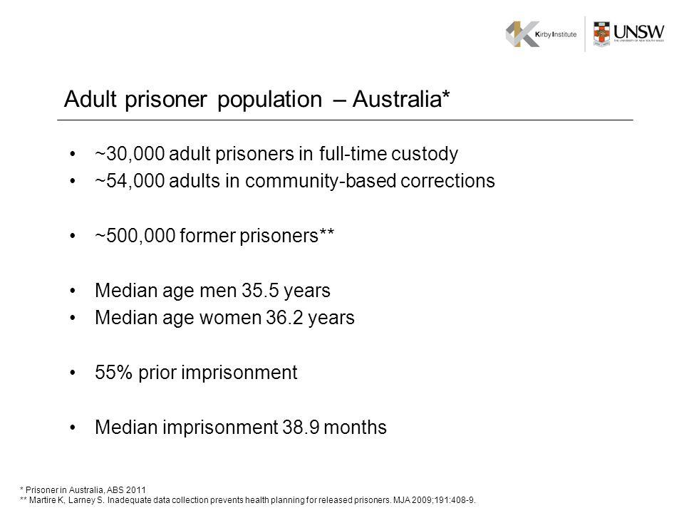 Adult prisoner population – Australia* ~30,000 adult prisoners in full-time custody ~54,000 adults in community-based corrections ~500,000 former pris
