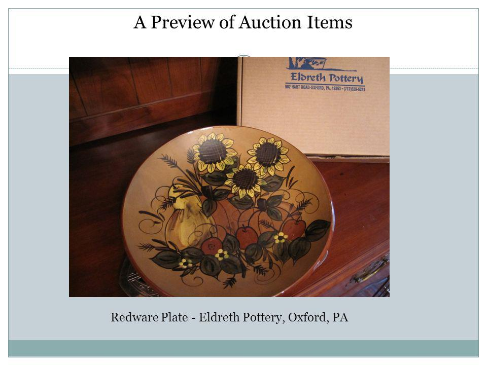 A Preview of Auction Items Redware Plate - Eldreth Pottery, Oxford, PA
