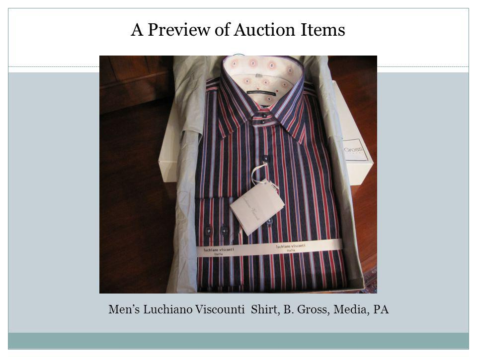 A Preview of Auction Items Mens Luchiano Viscounti Shirt, B. Gross, Media, PA