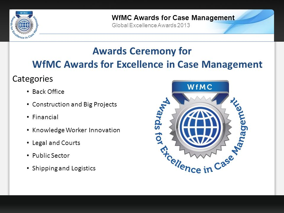 WfMC Awards for Case Management Global Excellence Awards 2013 Awards Ceremony for WfMC Awards for Excellence in Case Management Categories Back Office Construction and Big Projects Financial Knowledge Worker Innovation Legal and Courts Public Sector Shipping and Logistics