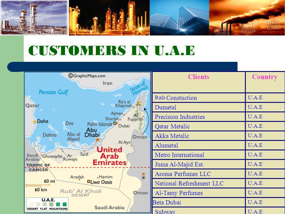 CUSTOMERS IN QATAR QATAR Mohd. Bin Hamad Al- Hamran & Son QATAR Al-Obeidy Trading & Contracting Es t. QATAR Hasan Bin Nazar Co. QATAR Belal Trading St