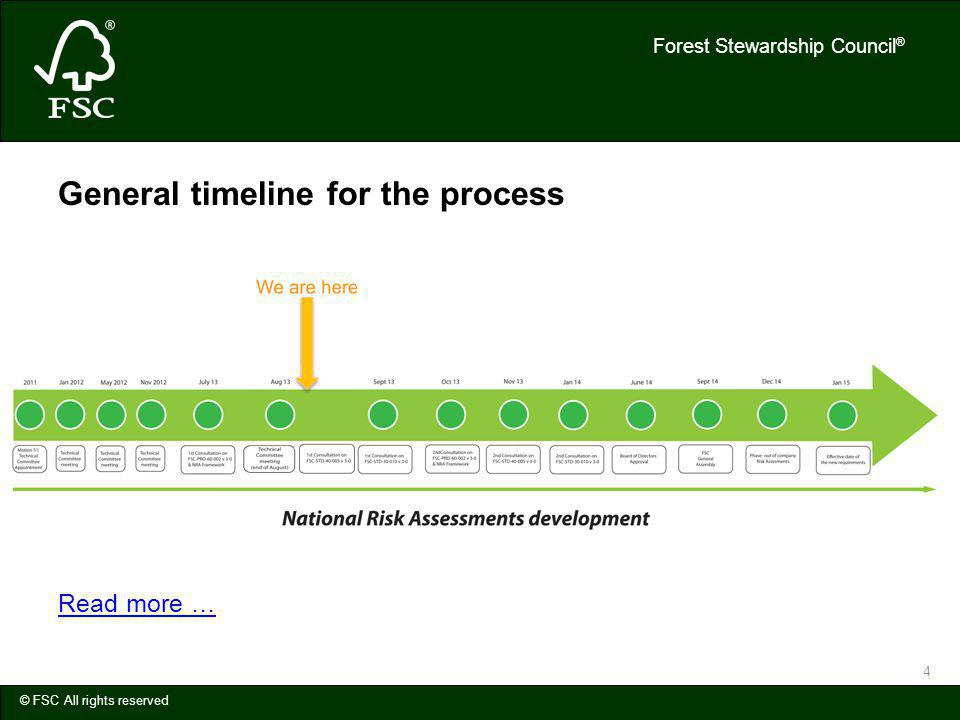 Forest Stewardship Council ® © FSC All rights reserved 4 General timeline for the process Read more …