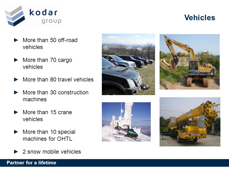 Partner for a lifetime Vehicles More than 50 off-road vehicles More than 70 cargo vehicles More than 80 travel vehicles More than 30 construction machines More than 15 crane vehicles More than 10 special machines for OHTL 2 snow mobile vehicles