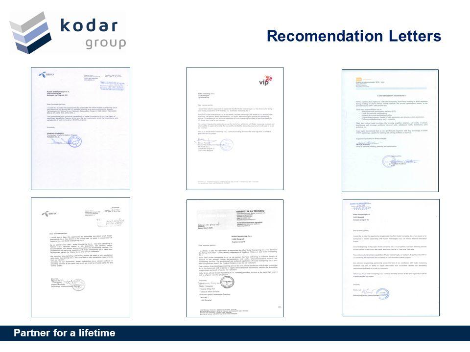 Partner for a lifetime Recomendation Letters