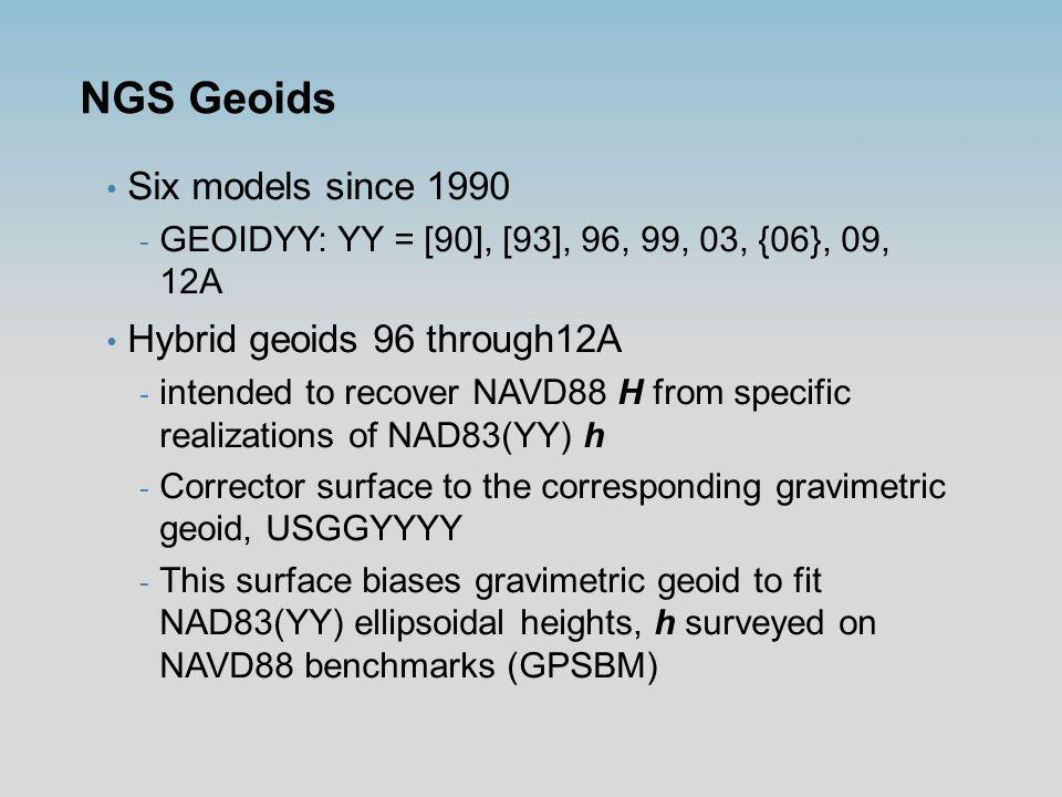 Problem Statement How well do NGS hybrid geoids perform locally.