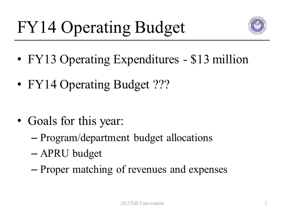 FY14 Operating Budget FY13 Operating Expenditures - $13 million FY14 Operating Budget ??.