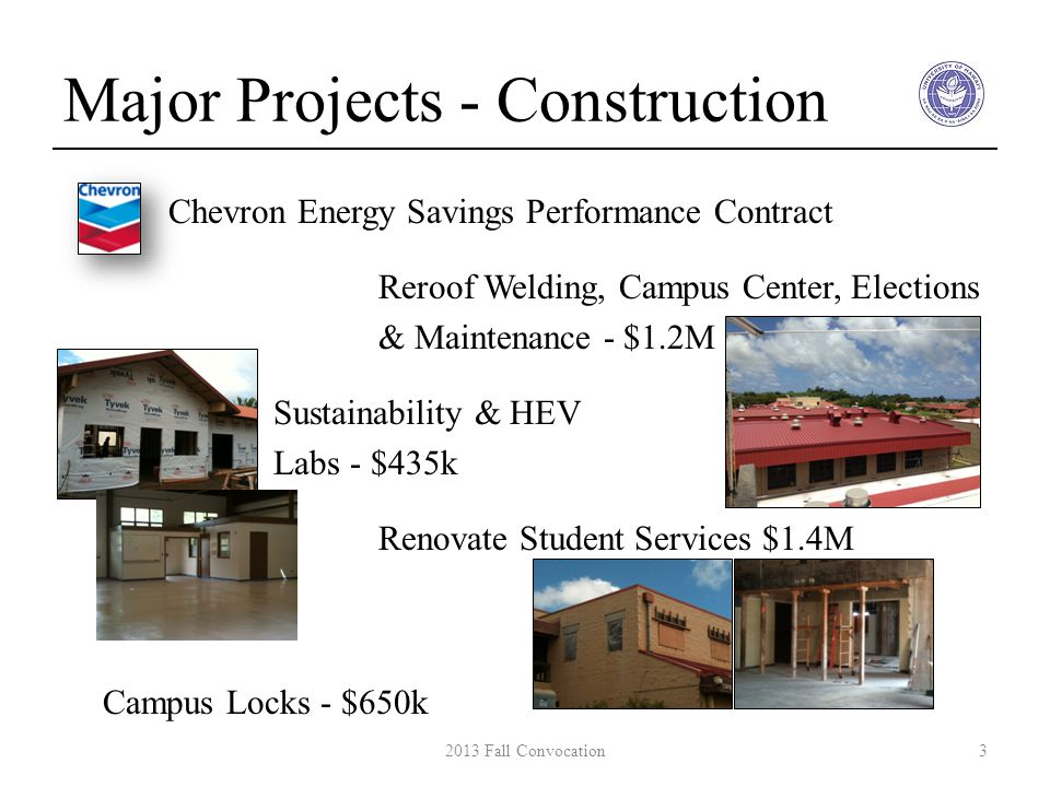 Major Projects - Construction Chevron Energy Savings Performance Contract Reroof Welding, Campus Center, Elections & Maintenance - $1.2M Sustainability & HEV Labs - $435k Renovate Student Services $1.4M Campus Locks - $650k 32013 Fall Convocation