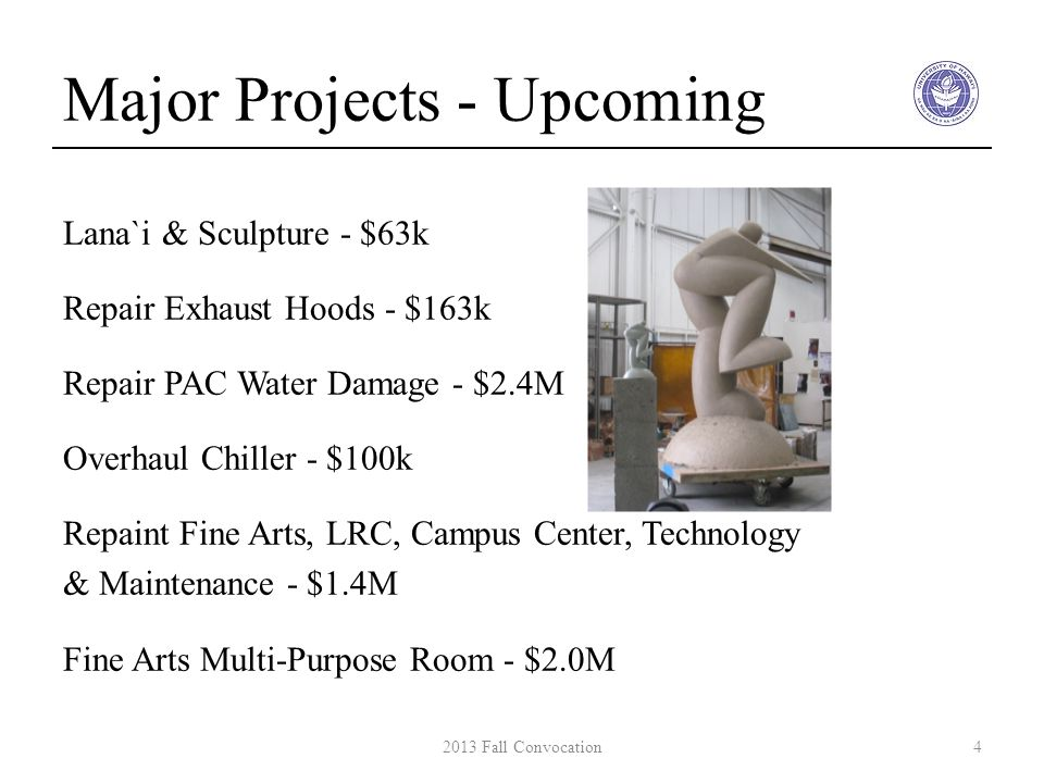 Major Projects - Upcoming Lana`i & Sculpture - $63k Repair Exhaust Hoods - $163k Repair PAC Water Damage - $2.4M Overhaul Chiller - $100k Repaint Fine Arts, LRC, Campus Center, Technology & Maintenance - $1.4M Fine Arts Multi-Purpose Room - $2.0M 42013 Fall Convocation