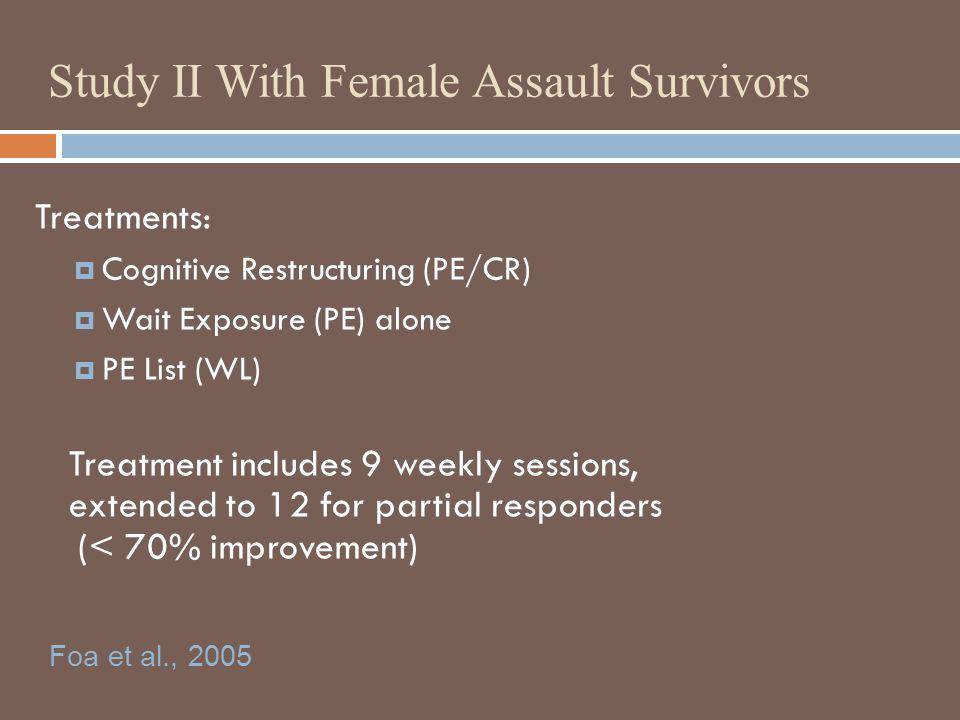 Study II With Female Assault Survivors Treatments: Cognitive Restructuring (PE/CR) Wait Exposure (PE) alone PE List (WL) Treatment includes 9 weekly s