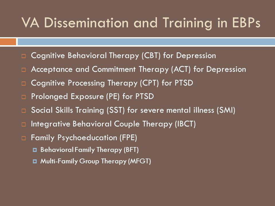 VA Dissemination and Training in EBPs Cognitive Behavioral Therapy (CBT) for Depression Acceptance and Commitment Therapy (ACT) for Depression Cogniti
