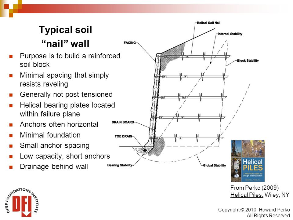 Copyright © 2010 Howard Perko All Rights Reserved Typical soil nail wall Purpose is to build a reinforced soil block Minimal spacing that simply resists raveling Generally not post-tensioned Helical bearing plates located within failure plane Anchors often horizontal Minimal foundation Small anchor spacing Low capacity, short anchors Drainage behind wall From Perko (2009) Helical Piles, Wiley, NY