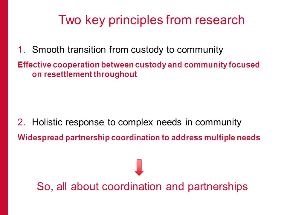 1.Smooth transition from custody to community Effective cooperation between custody and community focused on resettlement throughout 2.Holistic respon