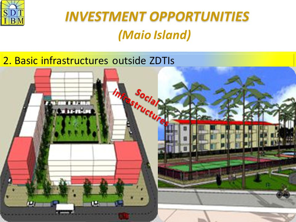 2. Basic infrastructures outside ZDTIs (Maio Island) Social infrastructures INVESTMENT OPPORTUNITIES INVESTMENT OPPORTUNITIES