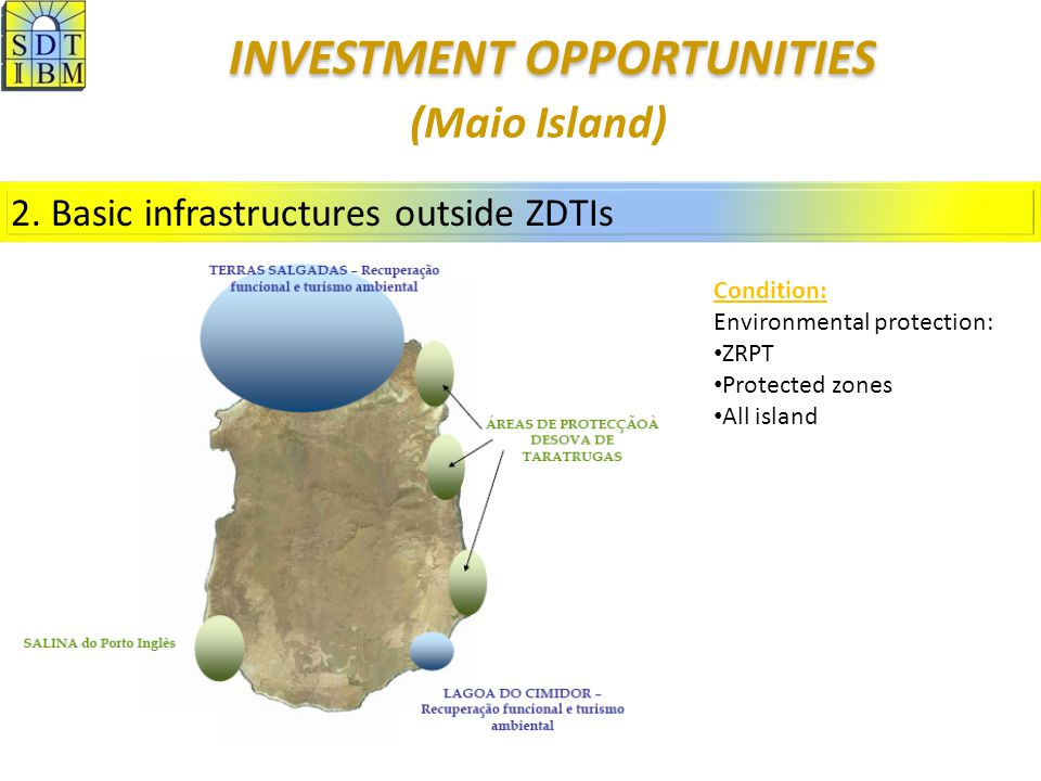 2. Basic infrastructures outside ZDTIs Condition: Environmental protection: ZRPT Protected zones All island (Maio Island) INVESTMENT OPPORTUNITIES INV