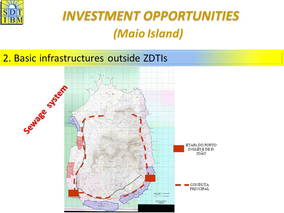2. Basic infrastructures outside ZDTIs (Maio Island) Sewage system INVESTMENT OPPORTUNITIES INVESTMENT OPPORTUNITIES