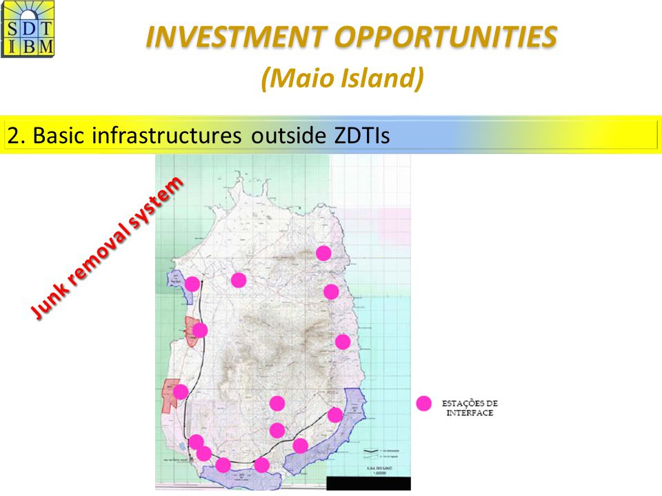 2. Basic infrastructures outside ZDTIs (Maio Island) Junk removal system INVESTMENT OPPORTUNITIES INVESTMENT OPPORTUNITIES