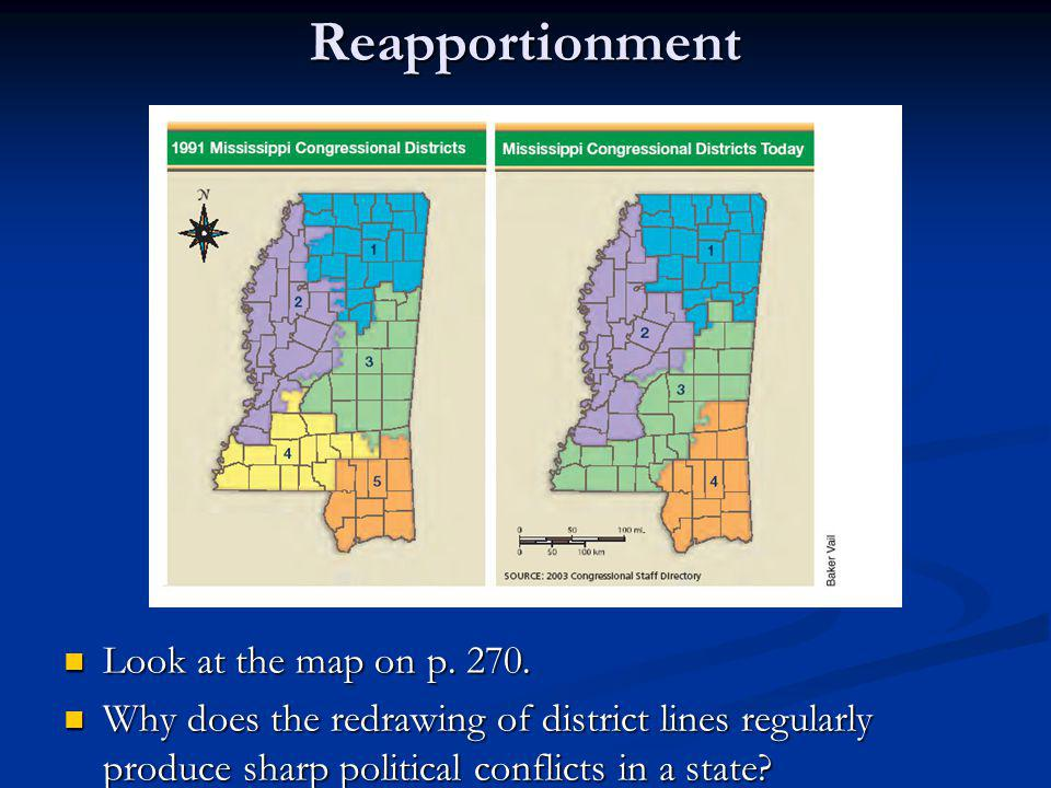Reapportionment Look at the map on p. 270. Look at the map on p. 270. Why does the redrawing of district lines regularly produce sharp political confl