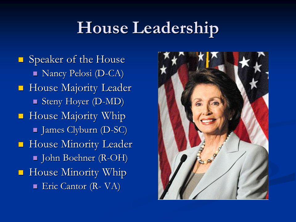 House Leadership Speaker of the House Speaker of the House Nancy Pelosi (D-CA) Nancy Pelosi (D-CA) House Majority Leader House Majority Leader Steny H