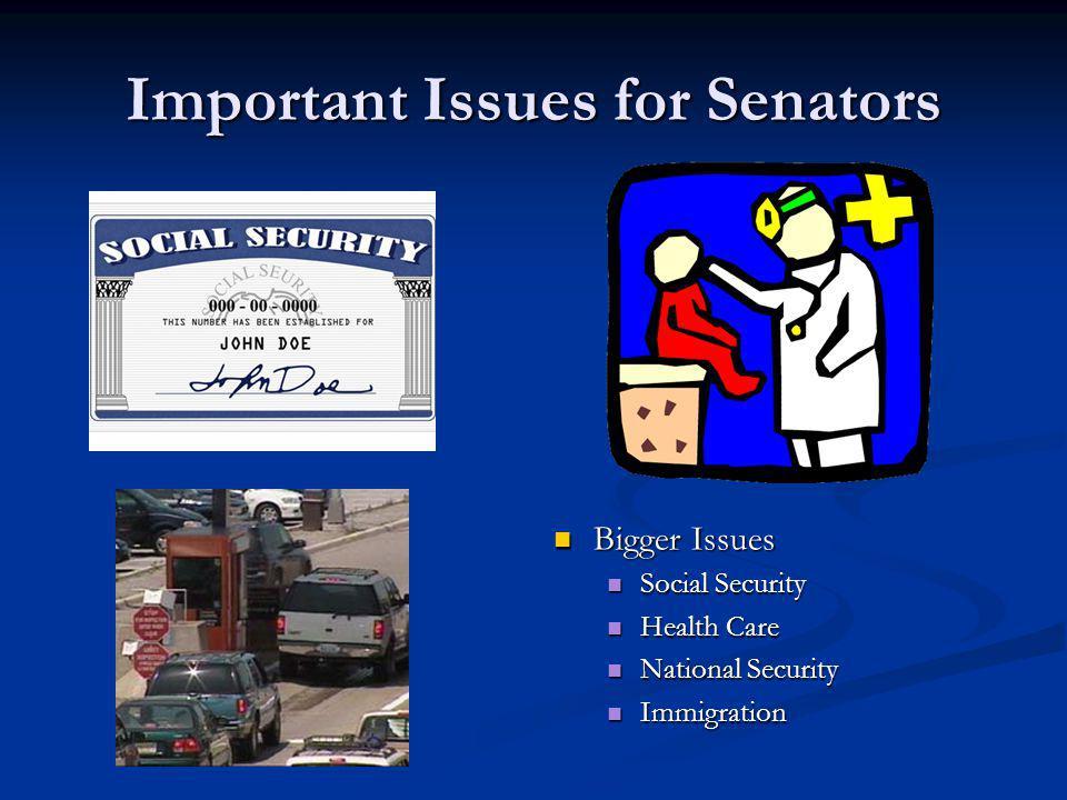 Important Issues for Senators Bigger Issues Bigger Issues Social Security Social Security Health Care Health Care National Security National Security