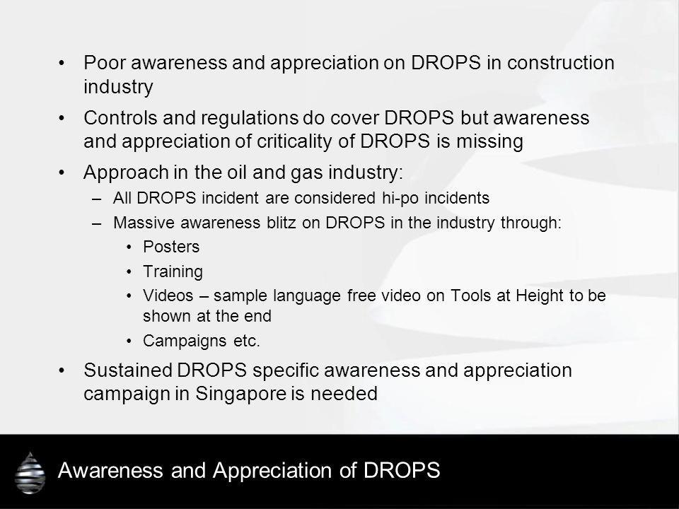 Awareness and Appreciation of DROPS Poor awareness and appreciation on DROPS in construction industry Controls and regulations do cover DROPS but awar