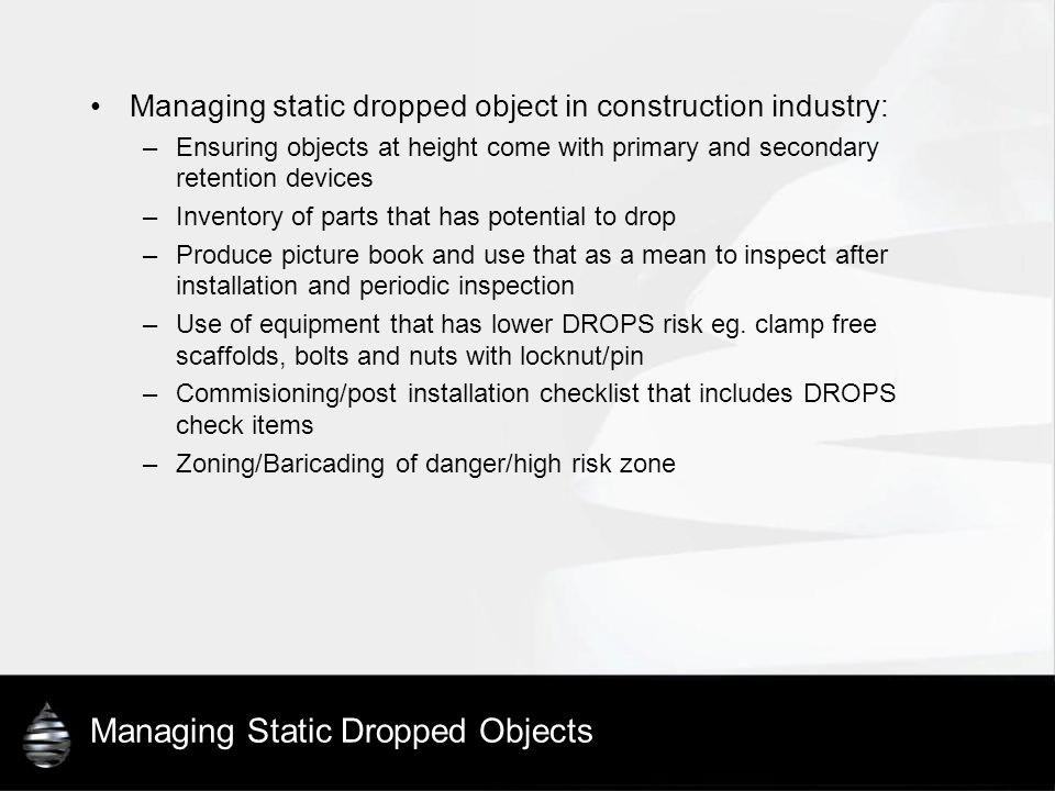 Managing Static Dropped Objects Managing static dropped object in construction industry: –Ensuring objects at height come with primary and secondary r