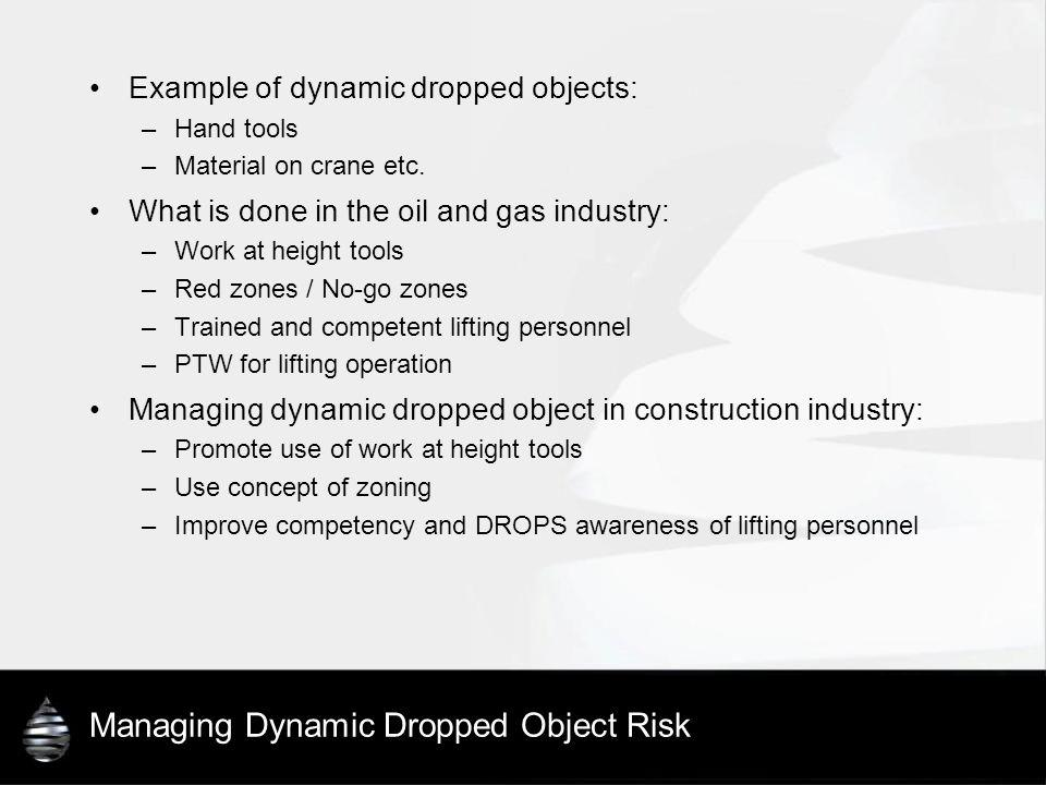 Managing Dynamic Dropped Object Risk Example of dynamic dropped objects: –Hand tools –Material on crane etc. What is done in the oil and gas industry: