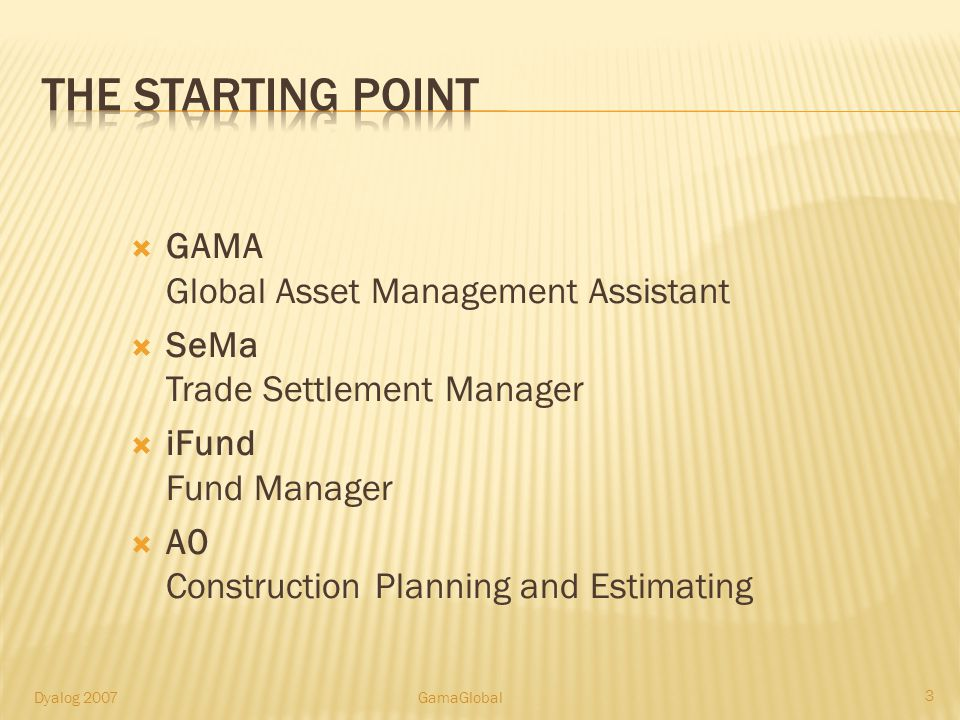 GAMA Global Asset Management Assistant SeMa Trade Settlement Manager iFund Fund Manager A0 Construction Planning and Estimating 3 Dyalog 2007GamaGloba