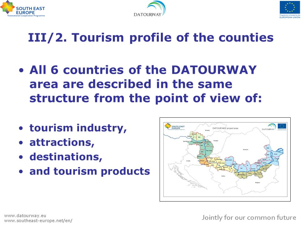III/2. Tourism profile of the counties All 6 countries of the DATOURWAY area are described in the same structure from the point of view of: tourism in