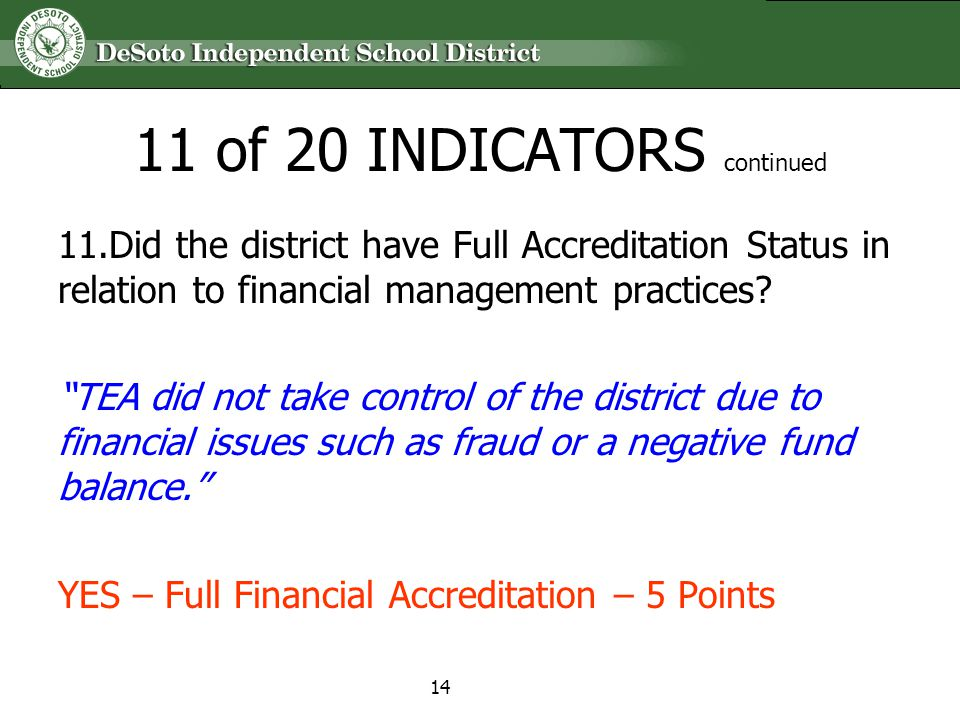 11 of 20 INDICATORS continued 11.Did the district have Full Accreditation Status in relation to financial management practices? TEA did not take contr
