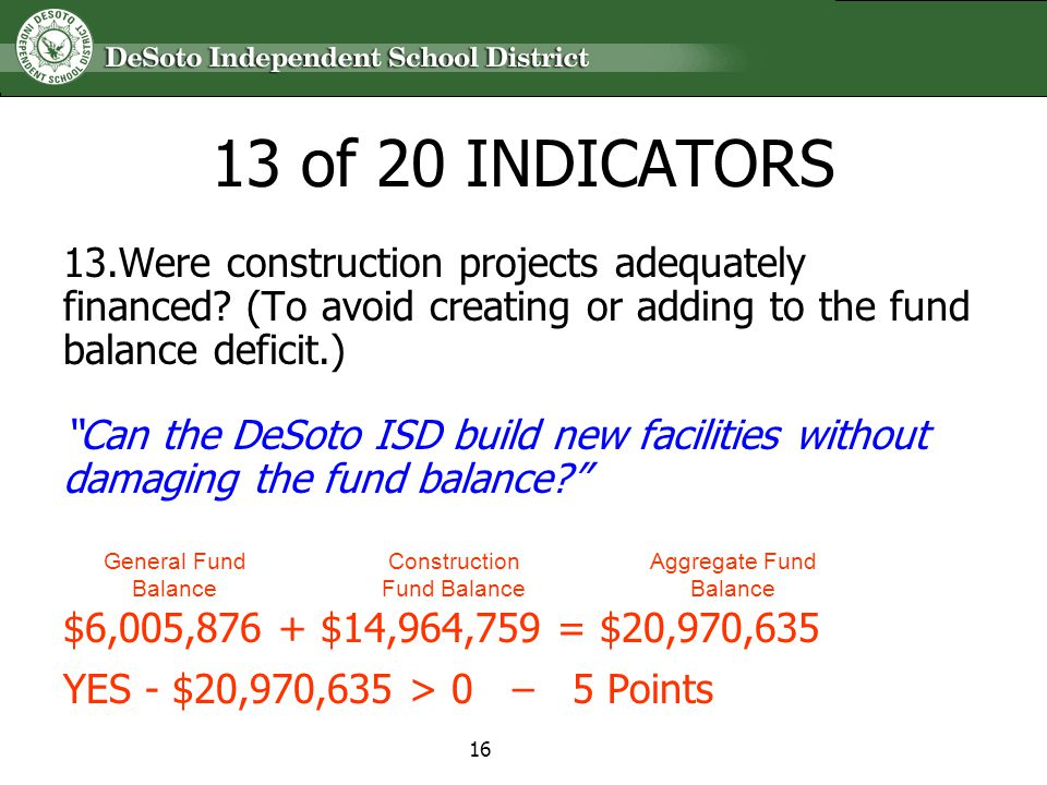 13 of 20 INDICATORS 13.Were construction projects adequately financed? (To avoid creating or adding to the fund balance deficit.) Can the DeSoto ISD b