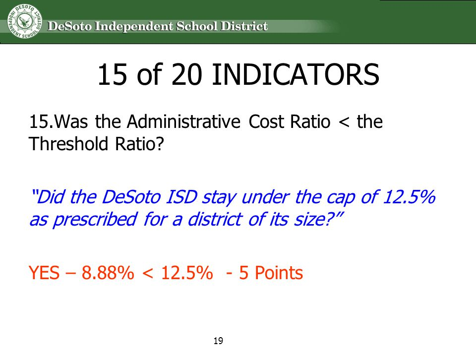 15 of 20 INDICATORS 15.Was the Administrative Cost Ratio < the Threshold Ratio? Did the DeSoto ISD stay under the cap of 12.5% as prescribed for a dis