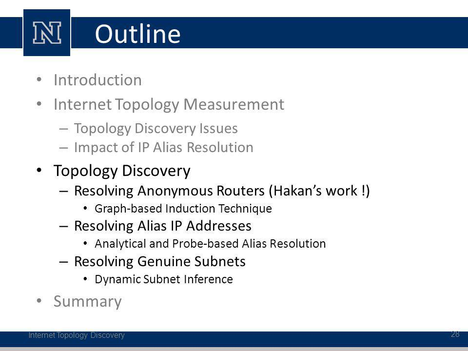 Outline Internet Topology Discovery 28 Introduction Internet Topology Measurement – Topology Discovery Issues – Impact of IP Alias Resolution Topology Discovery – Resolving Anonymous Routers (Hakans work !) Graph-based Induction Technique – Resolving Alias IP Addresses Analytical and Probe-based Alias Resolution – Resolving Genuine Subnets Dynamic Subnet Inference Summary