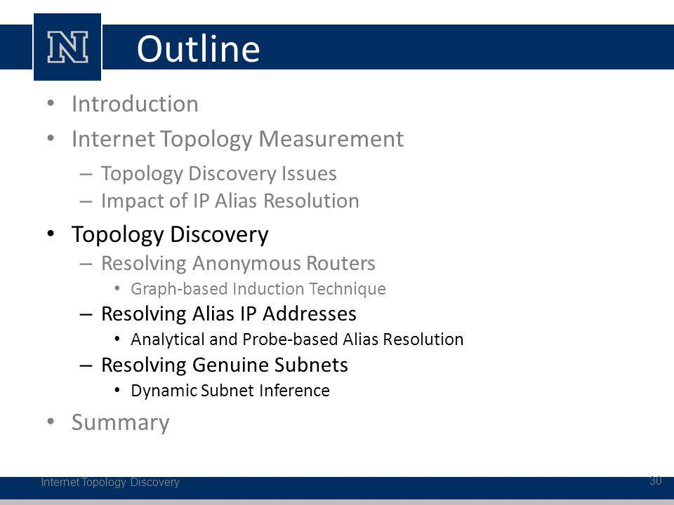 Outline Internet Topology Discovery 30 Introduction Internet Topology Measurement – Topology Discovery Issues – Impact of IP Alias Resolution Topology Discovery – Resolving Anonymous Routers Graph-based Induction Technique – Resolving Alias IP Addresses Analytical and Probe-based Alias Resolution – Resolving Genuine Subnets Dynamic Subnet Inference Summary
