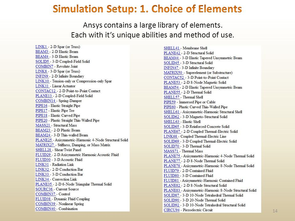 14 Ansys contains a large library of elements. Each with its unique abilities and method of use.
