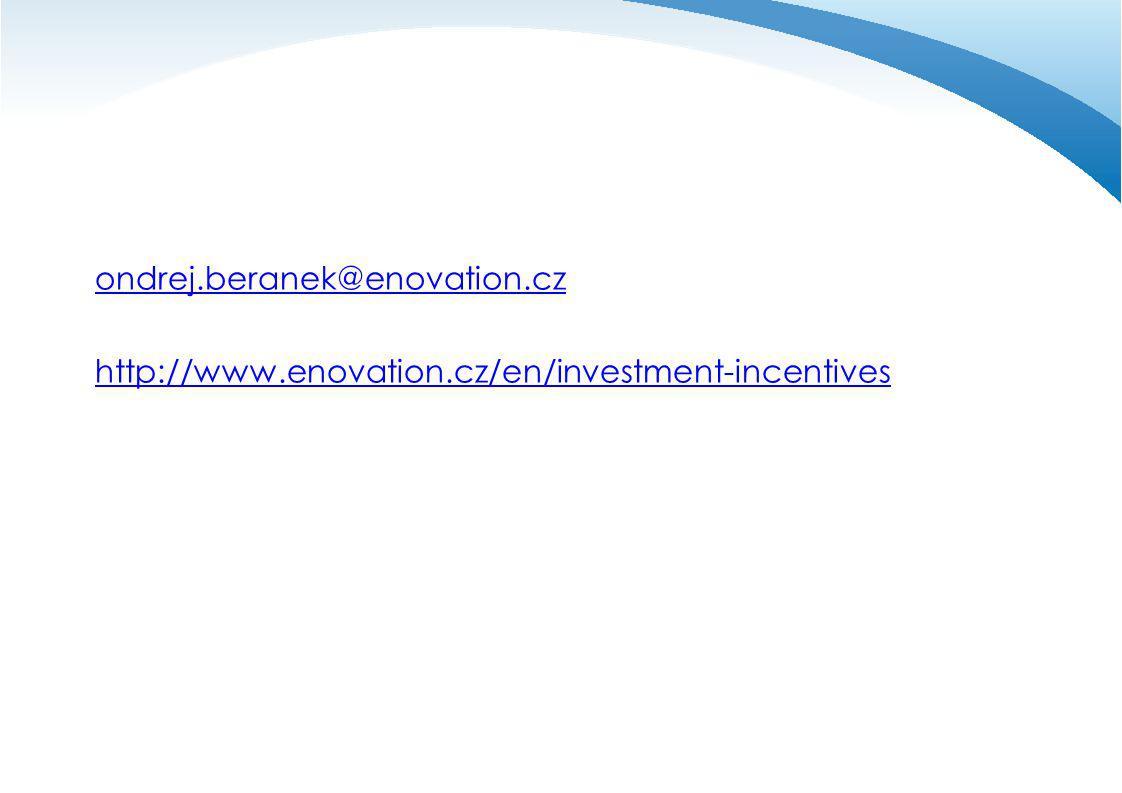 ondrej.beranek@enovation.cz http://www.enovation.cz/en/investment-incentives