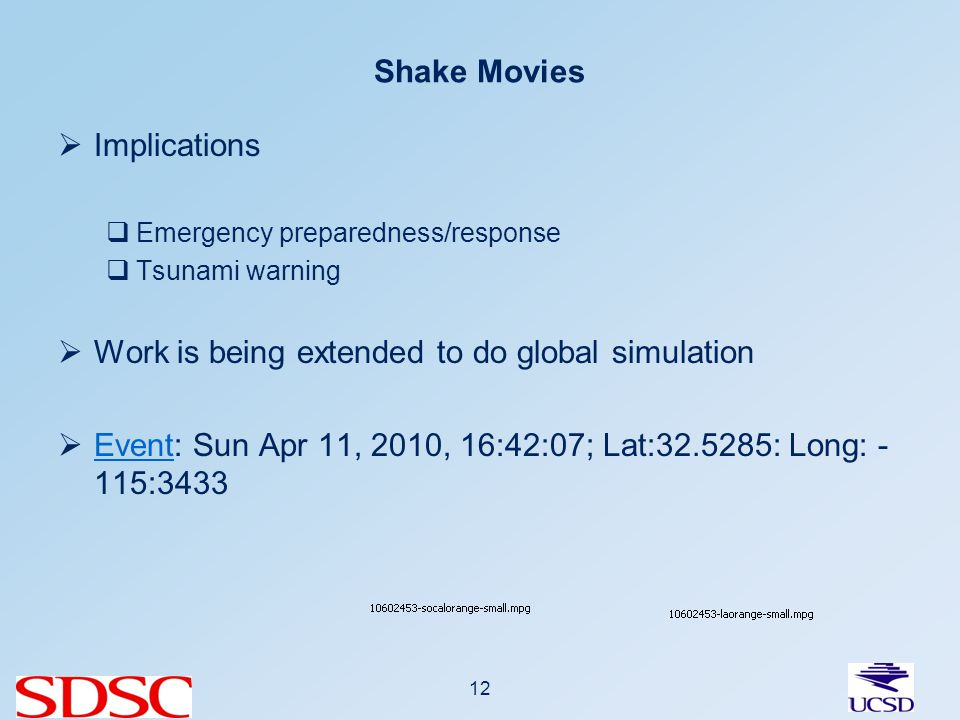 Shake Movies Implications Emergency preparedness/response Tsunami warning Work is being extended to do global simulation Event: Sun Apr 11, 2010, 16:42:07; Lat:32.5285: Long: - 115:3433 Event 12