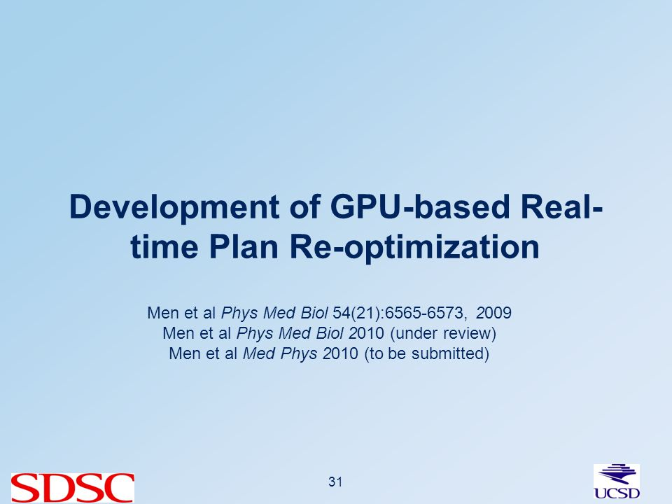 Development of GPU-based Real- time Plan Re-optimization 31 Men et al Phys Med Biol 54(21):6565-6573, 2009 Men et al Phys Med Biol 2010 (under review) Men et al Med Phys 2010 (to be submitted)