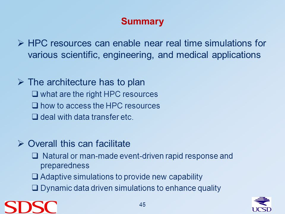 Summary HPC resources can enable near real time simulations for various scientific, engineering, and medical applications The architecture has to plan what are the right HPC resources how to access the HPC resources deal with data transfer etc.