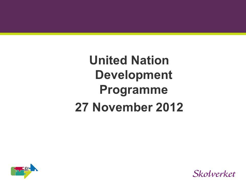 United Nation Development Programme 27 November 2012
